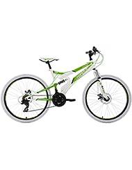KS Cycling Herren Mountainbike Fully Topeka RH 44 cm Fahrrad, Weiß-Grün, 26