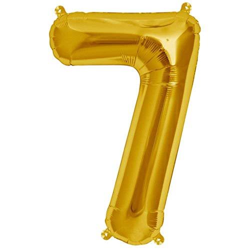Folienballon Gelb-Gold | Zahl 7 | Ballon für Luft und Helium | XL 70 x 15 cm | Geburtstag Hochzeitstag Jubiläum Geschenk Abschluss Party Überraschung