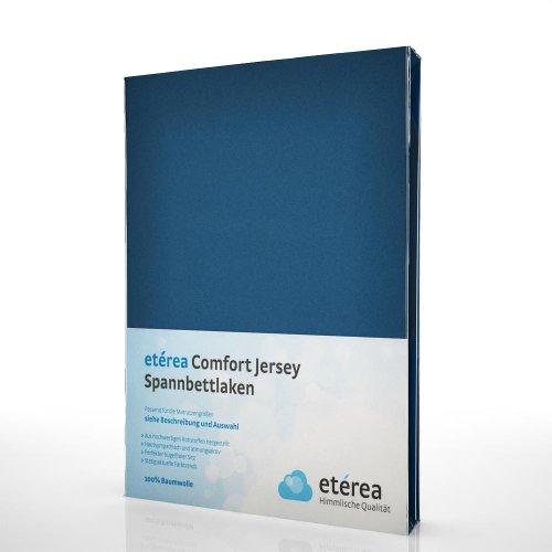 etérea Jersey Spannbettlaken - Serie Comfort - 100% Baumwolle Spannbetttuch Farbe Marine Blau, in der Größe 90x200 - 100x200cm (100% Jersey Baumwolle)