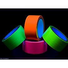 Cinta adhesiva de neón, activo con Luz Negra, ultravioleta, 4rollos por 50mm x 10m, Verde, Amarillo, Rosa, Naranja