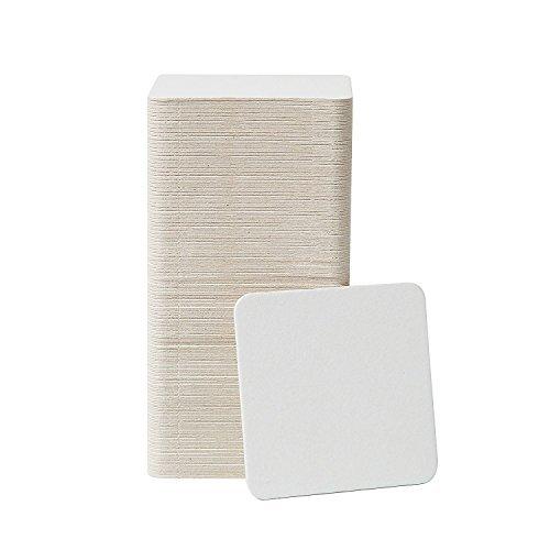 Papp-Untersetzer, 100 Stück, 8,9 x 8,9 cm, quadratisch, Weiß blanko, Untersetzer Großpackung - Papieruntersetzer für Getränke, Heimwerker, Kinderkunst und Basteln