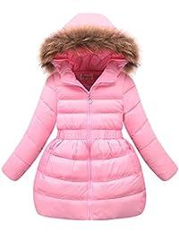 M&A Abrigo Chaqueta Nieve de Invierno de Pluma Con Capucha y Piel Sintética Con Cinturón Elástico