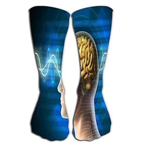 "No Soy Como Tu Hohe Socken Outdoor Sports Men Women High Socks Stocking Brain Waves Electric Tile Length 19.7""(50cm)"