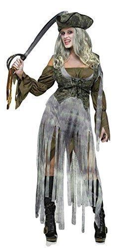 Dead Geisterschiff Zombie Pirat Halloween Kostüm Kleid Outfit - Grau, Grau, 10-12 (Zerfetzte Kleid Kostüm)