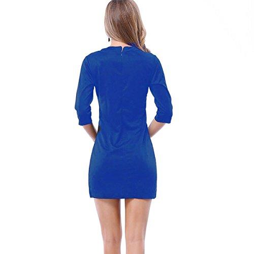Dünne Dünne Sexy V-Ausschnitt Kleid Paket Hüfte Fester Blue