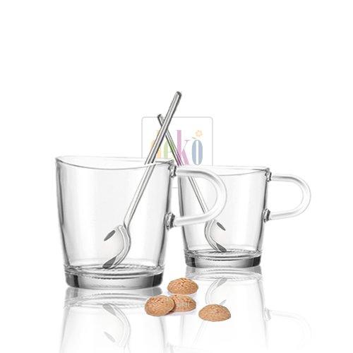 Leonardo Set/4 - 2 Henkelbecher Loop + 2 Cappuccino Löffel