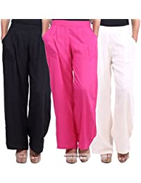 Pixie Women's Rayon Straight Palazzo Pant/Bottoms (Pack Of 3) (Prpz3Bwp_Multicolor_Medium)