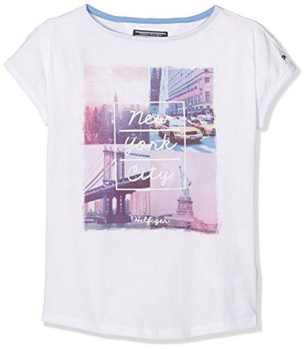 Tommy Hilfiger Mädchen  T-Shirt AME PHOTO BN KNIT S/S, , , , , Gr. 140 (Herstellergröße: 10), Weiß (Classic White 100) (Mädchen Bn)