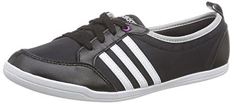 adidas Piona W, Chaussures de Running Compétition Femme, Noir / Blanc / Argenté (Noir Essentiel / Blanc Footwear / Argenté Mat), 38 2/3