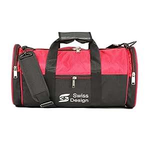 Swiss Design Stylish SDB-5053 bk.rd Red & Black Duffle Bag/Gym Bag