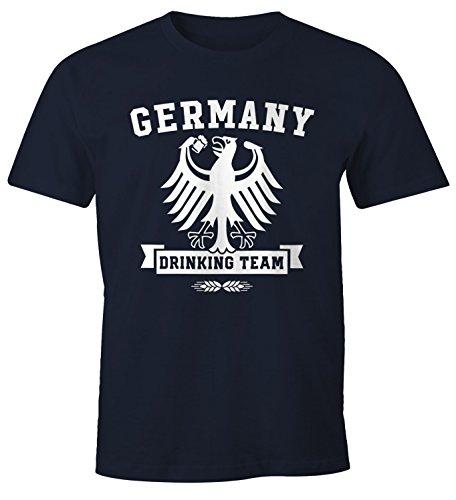 MoonWorks Herren T-Shirt WM Deutschland Fußball Germany Drinking Team Fun-Shirt Navy XL