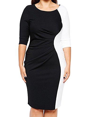 Abiti di sera donna 3/4 manica taglie forti mini vestito party club cocktail vestiti nero 4xl