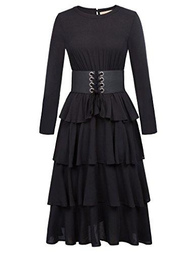 Yafex Victorian Gothic Renaissance Maxikleid Empire Kleid Stretch Tailliert Kleid (Large, Schwarz-KK800) (Empire-taille V-neck Kleid)