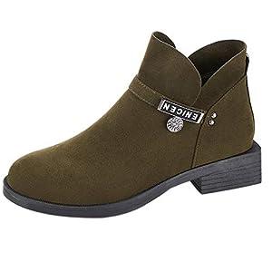 FeiBeauty Frau British Wind flach Schuhe Mode dick mit diagonalen Reißverschluss Stiefel