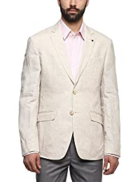 Louis Philippe Mens Notched Lapel Slub Blazer