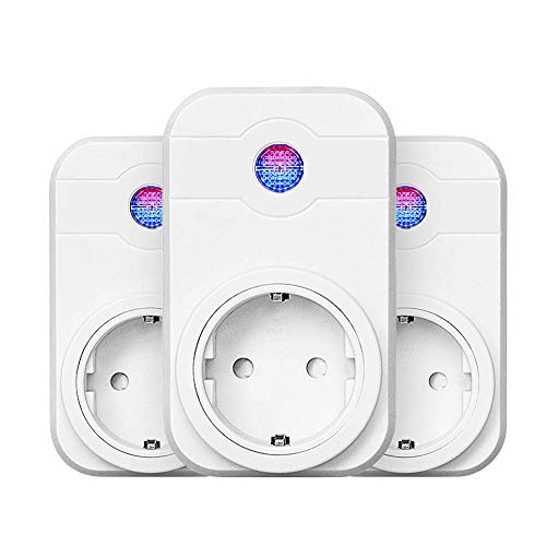 3 Pack WiFi Steckdose, Smart Intelligente WLAN Steckdose kompatibal mit Amazon Alexa, Echo, Echo Dot und Google Home, APP-Steuerung (3 Pack)