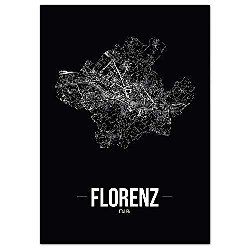 JUNIWORDS Stadtposter - Wähle Deine Stadt - Florenz - 30 x 40 cm Poster - Schrift B - Schwarz