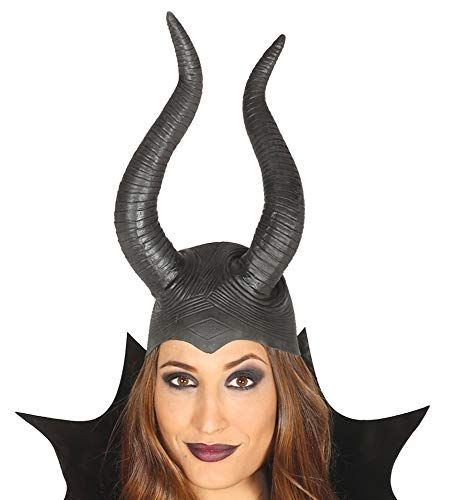 Kostüm Märchen Kopfbedeckung - shoperama Schwarze hochwertige Latex Maleficent Haube mit Hörnern Kopfbedeckung Kappe Halloween Kostüm-Zubehör Märchen Damen