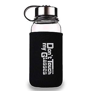 KOBWA Glasflasche Trinkflasche mit Tasche, Tragbare 700ml /1l Sport Trinkflasche Glas mit Siebeinsatz für Büro, Wandern, Unterwegs, Yoga, Sport