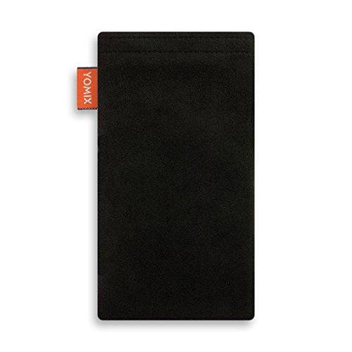 YOMIX Handytasche   Tasche   Hülle STELLA für Apple iPhone 8 aus Cordstoff mit genialer Display-Reinigungsfunktion durch Microfaserinnenfutter HUGO schwarz