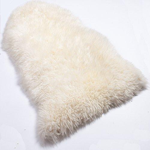 WOLTU TP3509ws-XL Öko Lammfell Schaffell Teppich Bettvorleger Sofa Matte echtes Naturfell Longhair Weiß 100-110cm