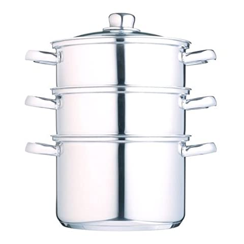 Kitchen Craft Clearview Stainless Steel 3-Tier Steamer, 18 cm