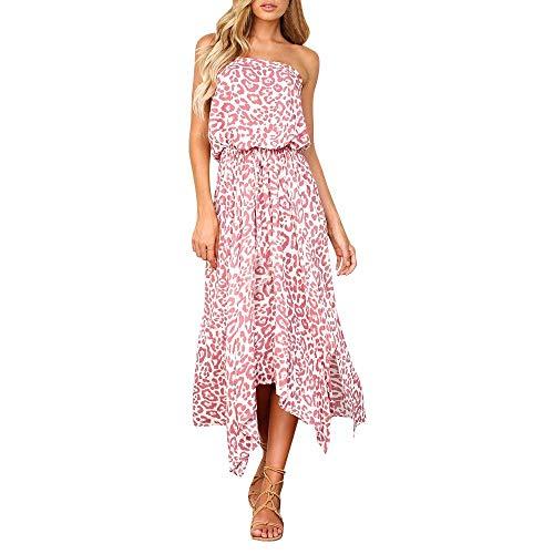 CAOQAO Damenkleid Sommer Böhmen Lässig Gedruckt Kleid Mit Offenen Schulterpolstern Für Frauen Kleid Chiffon Ärmellose Kleider Einteiler Trendy Rosa Sommer Lässige Kleidung Strand Chic