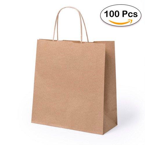 Lote de 100 Bolsas de Papel Kraft 23 x 22 x 9 cm - 100 Gr/m2 - Bolsas Marrones Kraft Retro Natural - Bolsas de Papel Baratas para Tiendas de Regalos, Detalles