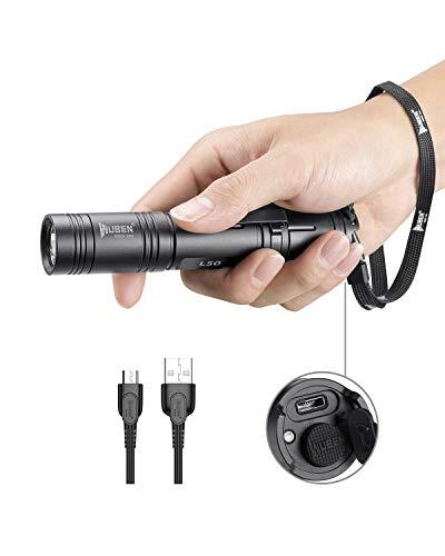 LED Taschenlampe Taktische Taschenlampe Outdoor Handlampe Wasserfest IPX8 USB Wiederaufladbar LED Taschenlampen WUBEN Extrem Super hell 1200 Lumen aufladbar, Wandern,Mit Batterie