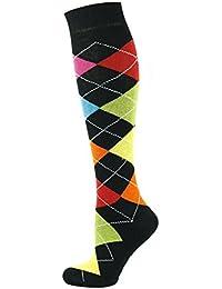 Mysocks® unisexo Rodilla alta Calcetines de Argyle Hecho con algodón peinado extra fino