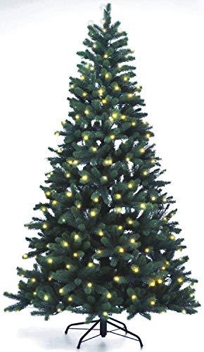 Lönartz® Naturgetreuer künstlicher Weihnachtsbaum PE-Spritzguss mit Beleuchtung (312 LEDs, 14W), Höhe: 210cm / Ø140cm (PE-BM210)