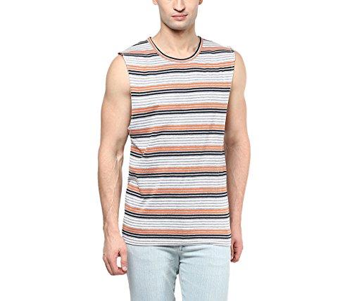 Hypernation Multicolor Stripe Round Neck Cotton Muscle T-shirt For Men For Men