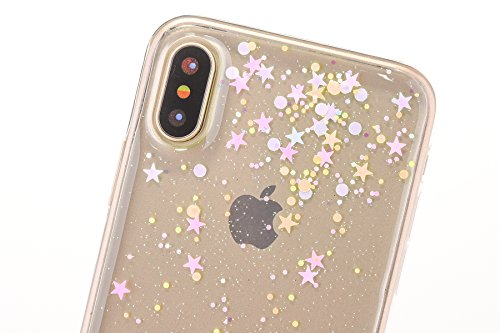 Custodia iPhone X, Cover iPhone 10 Trasparente, Brillantini Cover Custodia in Silicone per iPhone X / 10 Apple, Surakey Belle Elegante Custodia con Glitter Sottile e Morbida TPU Gomma Case Colorate Bl Stella Clear