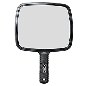 xnicx Hairdressing Hand Mirror Professional Handheld Salon Barbers Hairdressers Paddle Mirror Tool with Handle