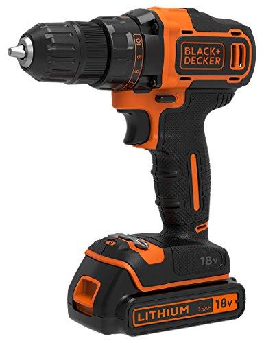 Black+Decker Akku-Bohrschrauber, Bohrmaschine mit 2-Gang Getriebe (18V, 1.5Ah, inklusive 2 Akkus und 400mA Ladegerät im Koffer, mit Doppelbit, LED-Arbeitslicht, Anti-Rutsch Softgriff) BDCDD186K