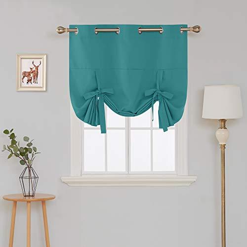 deconovo Tülle Fenster Vorhang, verdunkelnd, One Panel 116,8cm, Polyester-Mischgewebe, türkis, 46x63 (63 Lange Gardinen)