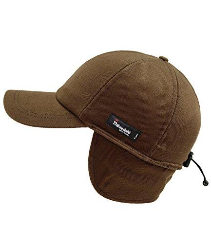 Fiebig Herrenbasecap Basecap Baseballcap Cap Schirmmütze Wintermütze Wintercap Teflon uni mit Ohrenklappen für Männer (FI-42492-W16-HE2-82-XL) in Braun, Größe...