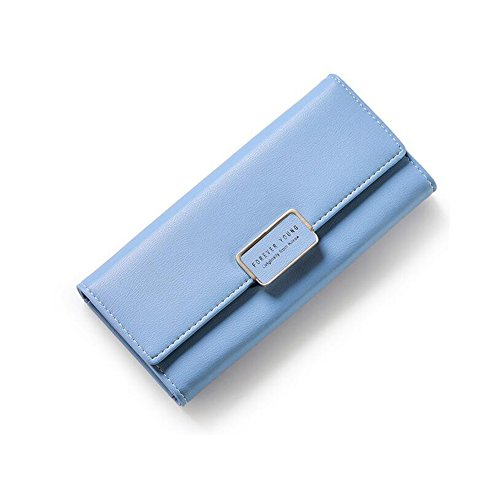 Damen Frauen Portemonnaie ,Angleliu Lang Portmonee Elegant Clutch Handtasche Groß Geldbeutel PU Leder Geldtasche mit Reißverschluss (Blau)
