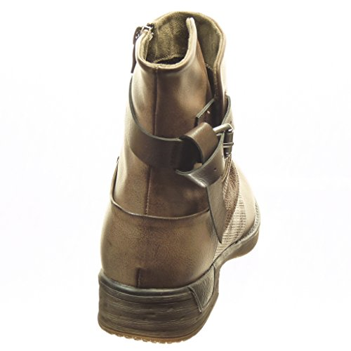Angkorly Scarpe Donna Stivaletti - Biker - Stivali Da Equitazione - Cavalier - Perforati - Arco - Perizoma 3 Cm Kaki