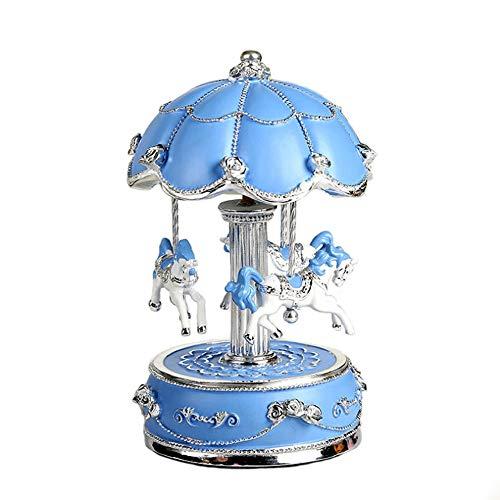 LIJUN Fleur Parapluie carrousel Musique boîte Mode Anniversaire Cadeau boîte à Musique,Blue