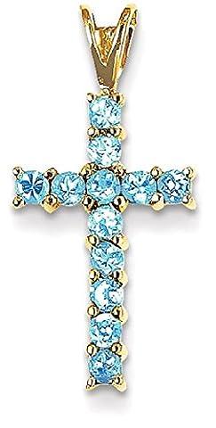 IceCarats Designer Schmuck 14K Blautopas Kreuz Anhänger