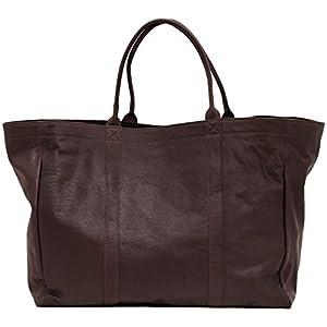 Mon PARTENAIRE INDUS tamaño L Bolso de Mano de Cuero Bolso de Estilo Vintage marrón Oscuro PAUL MARIUS