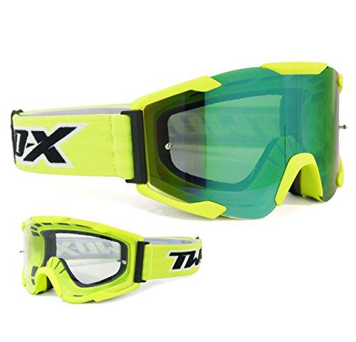 TWO-X Bomb Crossbrille Neon gelb Glas Light verspiegelt grün MX Brille Motocross Enduro Spiegelglas Motorradbrille Anti Scratch MX Schutzbrille