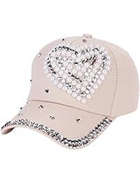 48cb77ea bigcity Fashion Heart Rhinestones Baseball Cap Women Cotton Adjustable  Snapback Hat