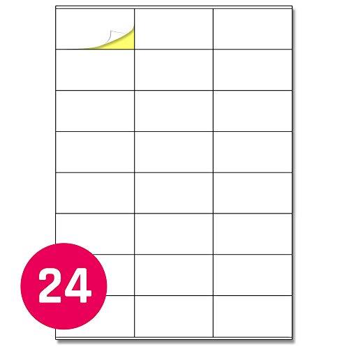 70 x 36 mm, 25 fogli, a4 etichette adesive bianche opaco - 24 etichette per foglio