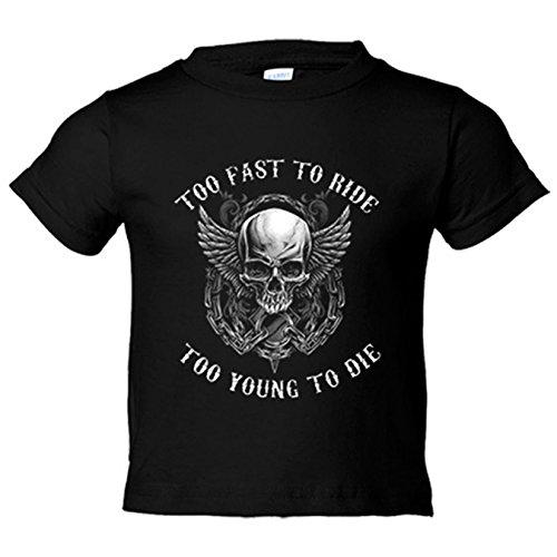 Camiseta niño para moteros Calavera Too Fast To Ride Too Young To Die - Negro, 9-11 años