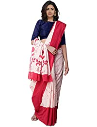 Unnati Silks Women Pure Rajasthani Cotton Saree with blouse piece and Batik Prints from the Weavers of Rajasthan (UNM32005+Ivory+free size)