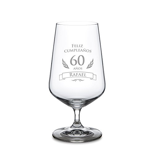 Copa de cerveza para el 60 cumpleaños – Personalizada con el NOMBRE – Cervezas tipo Pilsen – Vaso de cristal con grabado – Copa tulipa – Para amantes de la cerveza – Capacidad: 0,4 l – Regalos originales de cumpleaños