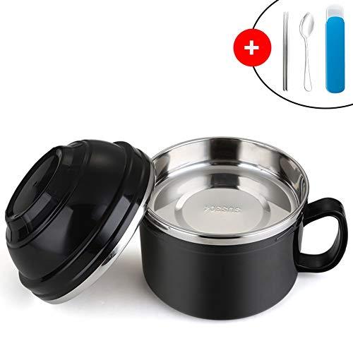 HR 3 Schichten Instant Nudle Bowl Edelstahl Ramen Nudel Suppe Pasta Schüssel Lunchbox Lebensmittelbehälter Kreative Keramik Schüssel 900ml Schwarz Scorpion Bowl