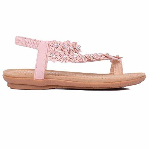 Neu Damen Diamant-zehensteg Knöchelriemen Sommer Strand Flache Sandalen Schuhgröße Glänzend Rosa